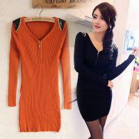 2014春装新款女装韩版M61096英伦时尚针织修身长袖连衣裙超好质量