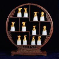 玉石工艺品厂家 十二生肖玉石酒杯 玉器摆件60大寿生肖礼品