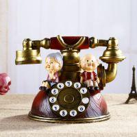 怀旧创意白头偕老夫妻 欧式zakka复古电话存钱罐 结婚礼物 SK408