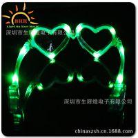 厂家直供 多款心形发光眼镜 舞会led发光七彩眼镜 可加工定制