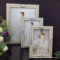 9033-6寸7寸10寸合金珍珠水钻金属相框相架,合金工艺品批发!