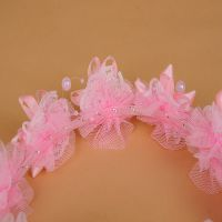 韩国儿童头饰发饰 可爱珍珠蕾丝玫瑰花公主发圈 新娘花环饰品批发