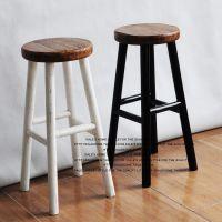 实木吧台椅高脚椅酒吧椅子创意圆凳家庭用时尚欧式简约前台椅子
