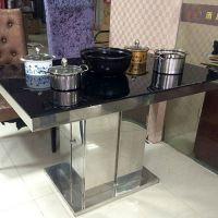 促销 大理石火锅桌 人造石英石电磁炉火锅桌不锈钢脚 厂家定做