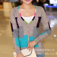 厂家特价批发新款女装羊绒衫撞色女羊绒开衫针织毛衣 女士毛衣衫