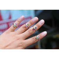 天然宝石 天然彩色碧玺戒指 巴西A级碧玺 925纯银镶嵌碧玺戒指