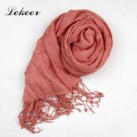 2015年春秋热销外贸原单围巾纯色串珠流苏三色可选