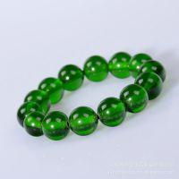 珠王水晶  合成琥珀蜜蜡  绿色琥珀圆珠手链 手串 东海水晶批发