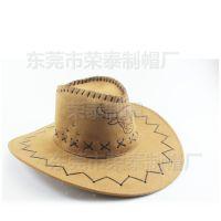 西部牛仔帽 骑士旅游男女遮阳 夏季草帽大檐户外演出帽烫印牛头