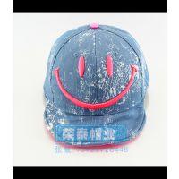 牛仔布印花儿童嘻哈帽 笑脸图案可爱儿童平沿帽 宝宝帽子夏天