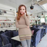 2015春季韩版小麻花中长款女毛衣 中长款针织衫 秋季新品打底衫
