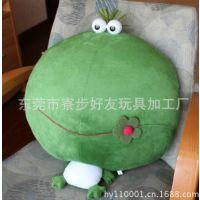 毛绒青蛙抱枕头枕 卡通动漫青蛙王子公仔抱枕头枕 东莞厂家加工定做