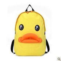 现货供应2015新款韩版可爱鸭嘴帆布包 黄色小鸭学生书包双肩包