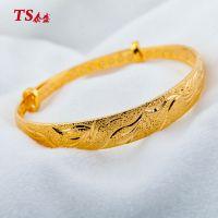 久不褪色黄金饰品 时尚流行款龙凤沙金手镯手环铜镀黄金手镯混批