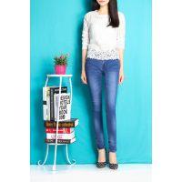 2015新款大码时尚修身口袋拉链铅笔裤小脚裤