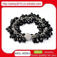 简约开运多层水晶手链 女士橄榄石黑水晶镶钻手链 一件代发