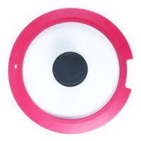 21cm 不伤手钢化玻璃硅胶包边锅盖 圆形透明密封性抗震平底锅锅盖