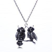 M-1057欧美*** 复古个性时尚猫头鹰金属镶钻项链 毛衣链