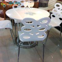 简约时尚休闲桌椅 白色优雅洽谈桌吧桌 圆形餐桌椅组合 户外桌椅