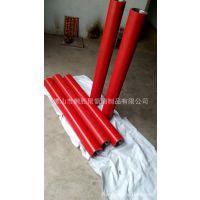 厂家专业生产80x400红色进口聚氨酯包胶滚筒超耐磨