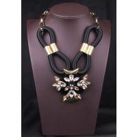 欧美大牌范 重磅推出黑绳麻花铜质爪镶水钻项链个性夸张锁骨链潮