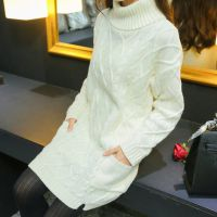 韩版高领秋季毛衣女线衣学生中长款宽松裙打底衫粗针粗线女士外套