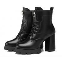 古奇天伦8065女短靴春秋新款女士高跟马丁靴防水台粗跟女靴单靴子 8065黑色 35-39码