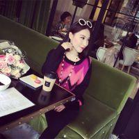 小银子家 2014秋冬新款网红同款集合撞色女式针织衫女式套头毛衣