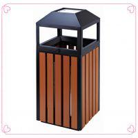 武汉哪里有批发公园锥顶垃圾桶户外塑木单桶果皮箱钢木带烟灰钢烟灰桶环保垃圾箱木质果皮桶卖