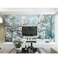 景灿大型3D整张手绘欧式田园油画樱花花卉壁纸 无纺布壁画 客厅卧室电视沙发背景墙纸