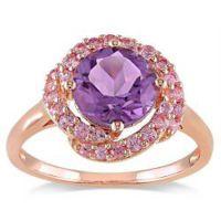 粉红色银色紫水晶及粉红蓝宝石鸡尾酒戒指 生产厂家