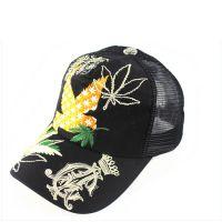 韩版时尚春夏潮款刺绣树叶绣花棒球帽网帽 男女士情侣鸭舌帽子