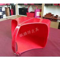 麒麟祥皮具 现货直销PU皮礼品盒 春节送礼包装皮篮 红色石头纹礼篮