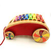 厂家批发 木制八音琴拉线玩具小车 木质拖车 儿童益智科教