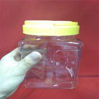 广东厂家直销PET塑料瓶 1000ML广口透明瓶 方形手杯瓶 配黄色手挽盖