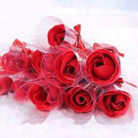 单支蝴蝶结玫瑰香皂花 创意情人节礼物生日礼品 香皂花 浪漫礼物