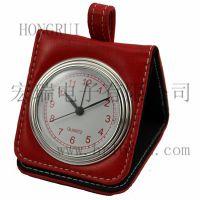 专业定制礼品闹钟 ***商务旅行钟 皮革PU旅行钟 便携折叠石英钟