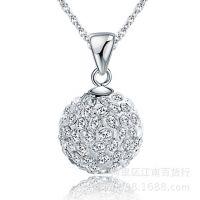 香巴拉钻球项链 韩版时尚饰品批发 满钻天然水晶吊坠项饰厂家混批