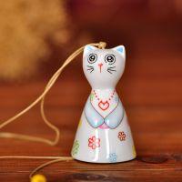 【大减价】陶瓷工艺品 炫彩猫咪风铃 手绘陶制风铃厂家直销风铃