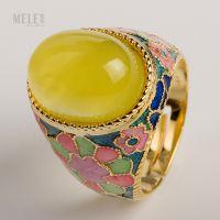 牧乐珠宝***天然葡萄石南红戒指纯银镶嵌珐琅工艺大气时尚女戒