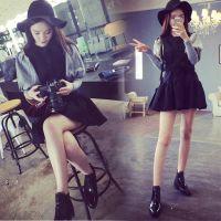 韩国代购2015春季新款圆领灯笼长袖假两件套毛呢修身连衣裙8283