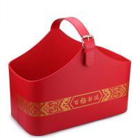 上海礼品包装 红酒和月饼礼篮 红色喜庆皮篮 现货供应大中小号红色皮质包装篮 进口食品篮 PU收纳篮