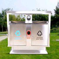 广州方联供应不锈钢户外垃圾桶果皮箱 钢木公园小区分类垃圾箱室外环卫垃圾桶