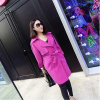 小银子2014春秋装新款欧美潮系带精致包边中长款风衣女外套W9354