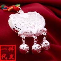990纯银 银锁宝宝长命锁 银饰品长命富贵 婴儿吊坠 满月礼物