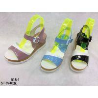 2016新款韩版百搭高跟鞋批发坡跟鱼嘴鞋凉鞋厂家直销