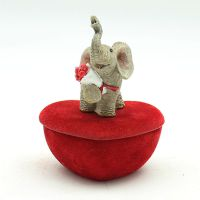 可爱动物植绒小象珠宝首饰收纳盒创意家居摆件树脂工艺装饰品定制