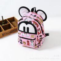 儿童包包韩版时尚潮女童宝宝可爱趣味帆布印花米奇双肩包背包书包