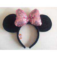 长亿迪士尼蝴蝶结头饰儿童发箍 新款毛绒头箍 生日派对头饰 六一礼品