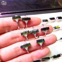 天然原石 绿碧玺女士戒指 方行戒面 天然彩宝石戒指 批发